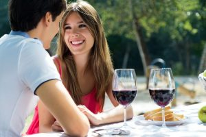 Date at restaurant and wine